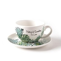 coffeezone磁器Cup and Saucer forエスプレッソカプチーノand Latte 10.5OZ グリーン