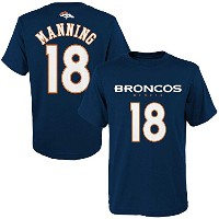 Peyton Manning # 18 Denver Broncos NFL Youth Primary Player Tシャツ S