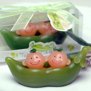 """ Two Peas in a Pod "" Twinsベビーシャワー誕生日Candle Mini Favors グリーン CA"