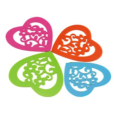 (Heart) - Teabloom Hot/Cold Slip-Proof Heart Shaped Silicone Coasters - Dishwasher-Safe, Microwave...