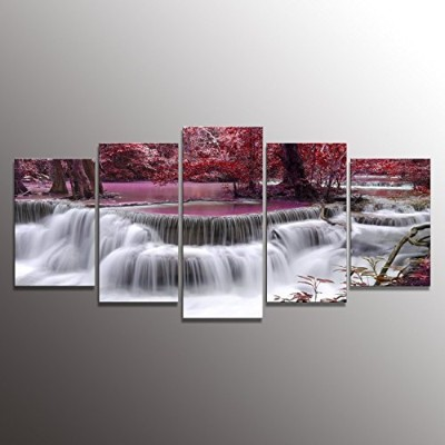 Formarkor Art Canvas Print for Living Room Decoration, Kx00202 Framed, Stretched , 5 Panels Red...