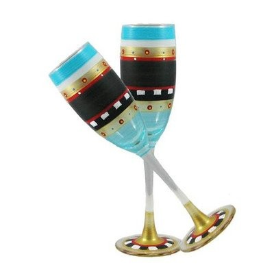 Golden Hill Studio Champagne Flute Glassesハンドペイントin the USA by American artists-setの2-mosaicチョークコレクシ...