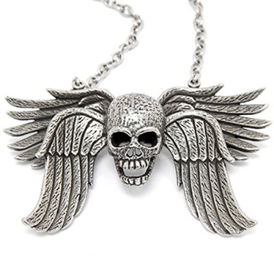 Controse Women 's/Men 's Antiique silver-tonedステンレススチールImmortalia–Skull with Wingネックレス