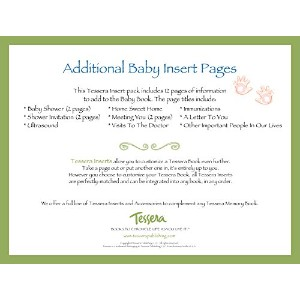 Tessera Baby Books Baby Memory Book Insert Pack, Additional Baby Pages by Tessera Baby Books