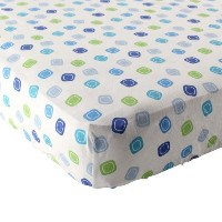 Luvable Friends Geometric Print Fitted Knit Crib Sheet, Blue by Luvable Friends [並行輸入品]
