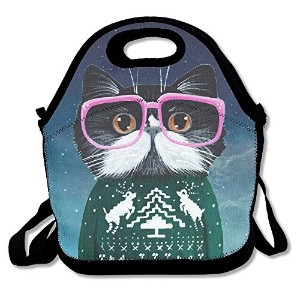 かわいい猫WearingグリーンセーターとピンクガラスLunchバッグTote Handbag Lunchbox Food Container Tote Cooler Warmポーチfor...