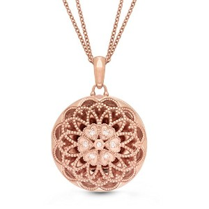 スターリングsilver-rose gold-diamond-filigree-customフォトロケットnecklace-the Elaine by with Youロケット