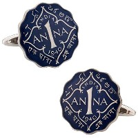 Cuff - Daddy British India 1Anna Painted Coin Cufflinks Withプレゼンテーションボックス
