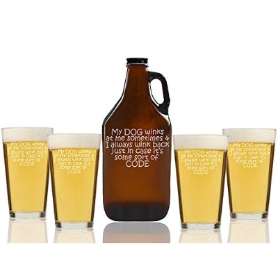 "Chloe and Madison""My Dog Winks I Wink Back Code"" Beer Amber Growler & pint Glasses, Set of 5"