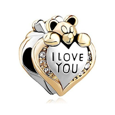 reisjewelry I Love You Heart Teddy Bearのチャームビーズブレスレット