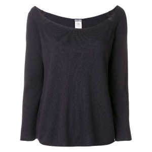 Kristensen Du Nord wide neck knitted top - ブルー