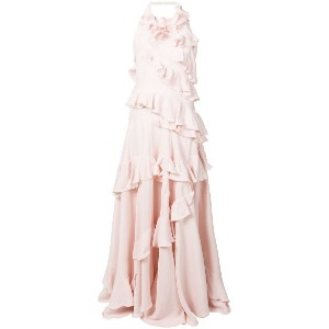 Maison Rabih Kayrouz ruffle trimmed gown - ピンク&パープル