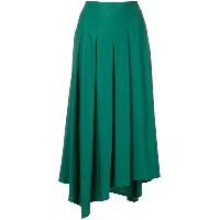 Aula asymmetric pleated skirt - グリーン