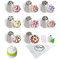 Russian Piping Tips Cake Decorating Supplies with Pipingバッグとヒントカップケーキ用デコレーション31-pcsセット( 8ロシアヒント20使い捨...