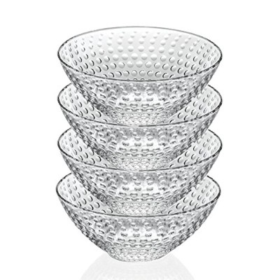 Lorenzo Import Galassia 4 Piece 17cm Deep Cereal/Soup Bowls, Clear