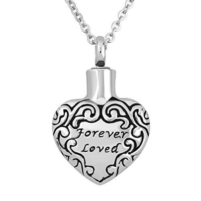 luckyjewelry Forever Lovedハート火葬記念品Urnネックレスfor灰Memorial Momペンダント
