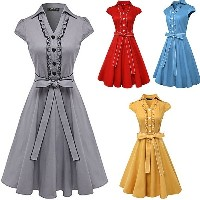Hepburn Style Women s Fashion Summer V-neck Sexy Party Dress Classy Vintage 1940 s Rockabilly Evenin