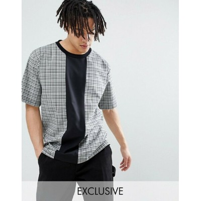 リクレイム ヴィンテージ メンズ Tシャツ トップス Reclaimed Vintage Inspired Woven Check T-Shirt With Cut And Sew Grey