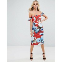 エイソス レディース ワンピース トップス ASOS Floral Fold Detail Bardot Scuba Pencil Dress Multi