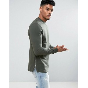 エイソス メンズ パーカー・スウェット アウター ASOS Longline Muscle Fit Sweatshirt With Side Zip in Khaki Forest nights