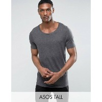 エイソス メンズ Tシャツ トップス ASOS TALL Longline T-Shirt With Scoop Neck Char marl