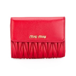 Miu Miu matelassé billfold coin purse - レッド