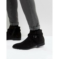 エイソス メンズ ブーツ・レインブーツ シューズ ASOS Chelsea Boots In Black Faux Suede With Strap Detail Black
