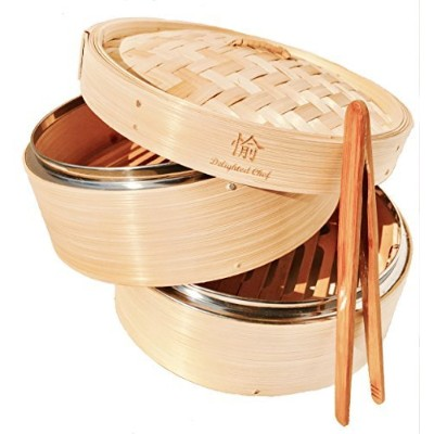NEW! AMAZINGLY DURABLE Bamboo Steamer/Lightweight Food Steamer/Steamer Basket Bamboo Fits Perfectly on Standard Size Pots/Excellent Asian Food Steamer/Free Tong Included by Delighted Chef