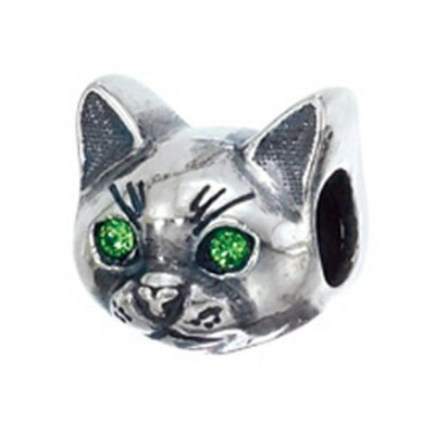 Zable Sterling Silver Cat Faceビーズ/チャーム