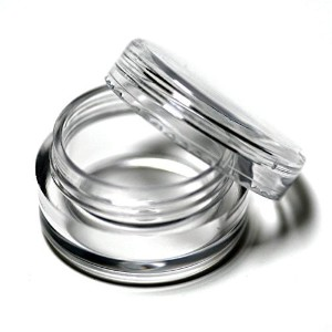 LEFVテ「ツツ「 Pack of 25 New Empty Clear 3 Gram Plastic Pot Jars Cosmetic Containers with Lids for...