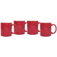 Culver 11-ounce Hampton Ceramic Mug , Set of 4 11オンス レッド COMINHKG045619