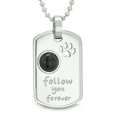 Follow You Forever Wolf Paw Amuletドットタグ正エネルギーSimulatedブラックオニキスペンダント22インチネックレス