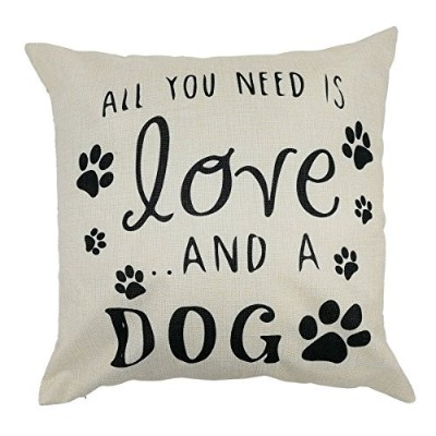 (Loveandadog-a) - Arundeal All You Need Is Love And A Dog 46cm x 46cm Cotton Linen Square Throw...