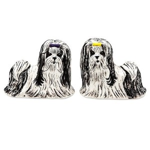 Rescue Me Nowシーズー犬Salt and Pepper Shaker Set by Pavilionギフト会社