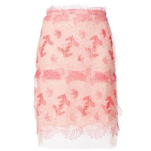 Ermanno Scervino embroidered fitted skirt - ピンク&パープル