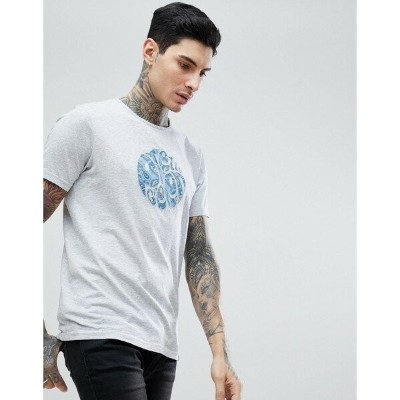 プレティグリーン メンズ Tシャツ トップス Pretty Green Portside Paisley Logo T-Shirt In Grey Grey