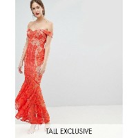 ジャーロトール レディース ワンピース トップス Jarlo Tall All Over Lace Off Shoulder Fishtail Maxi Dress Tomato orange