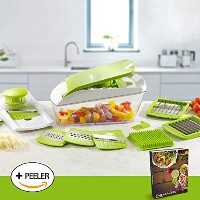 Chop 'n' Slice Pro - Mandolin & Chopper with Storage Lid - 7 Interchangeable Blades for Chopping,...