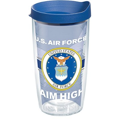 Tervis 1286934Air Force Pride Tumbler withラップとブルー蓋16オンス、クリア
