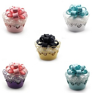 (Style 2) - Cupcake Wrappers ,KEIVA 100 Pack Cupcake Wraps in 5 Colours Filigree Artistic Bake Cake...