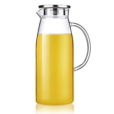 Artcome 1.8 Litre Hand Made Tea Glass Water Pitcher with Stainless Steel Strainer Lid