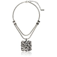 """Kenneth Cole New York """" Stone Clusterメタリック"""" Mixed Metallic Faceted Stone正方形ペンダントネックレス、16インチ+..."""