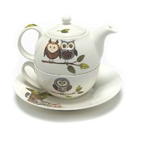 Roy Kirkham RSPB Natures WayウッドランドフクロウTea for Oneティーポット、Cup and Saucer