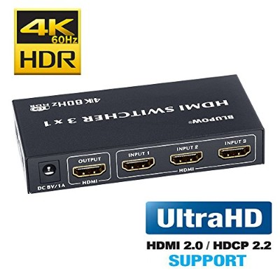 BLUPOW HDMI切替器 3入力1出力 4K 60Hz HDR 3D HDMI2.0 HDCP2.2対応 hdmiセレクター hdmiスイッチ PS4・Xbox・Blu-ray palyer...