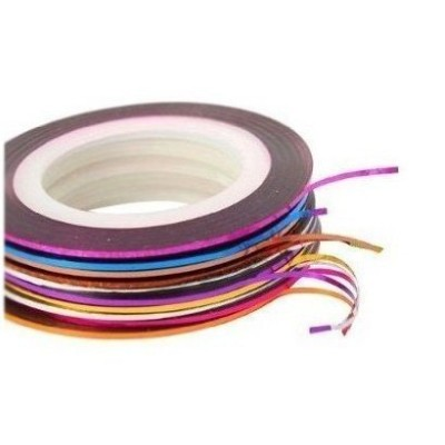 Nail Art Striping Tape Line Decoration pack of 10 rolls + 100 Lint Free Nail Wipes