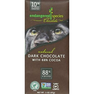 Endangered Species Natural Chocolate Bars - Dark Chocolate - 88 Percent Cocoa - 3 oz Bars - Case of...