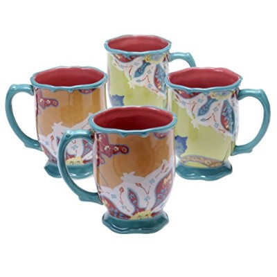 トレイシー・ポーターの詩的Wanderlust Scotch Moss 18 oz Mug , Set of 4