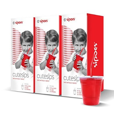 CuteSips Kids Drinking Cups Lids And Straws By Sipoes 3 Boxes of 15 (45 ct ) by CuteSips