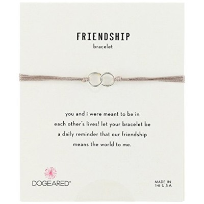 "[ドギャード]Dogeared ""Friendship"" Sterling Silver Double Link Taupe Silk Adjustable Closure Bracelet..."