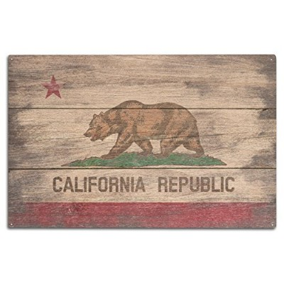 (10 x 15 Wood Sign) - Rustic California State Flag (10x15 Wood Wall Sign, Wall Decor Ready to Hang)